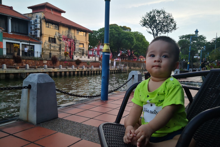 Malacca River Walking Tour with 10 months old Baby Devan